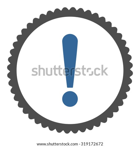 Exclamation Sign round stamp icon. This flat glyph symbol is drawn with cobalt and gray colors on a white background. - stock photo