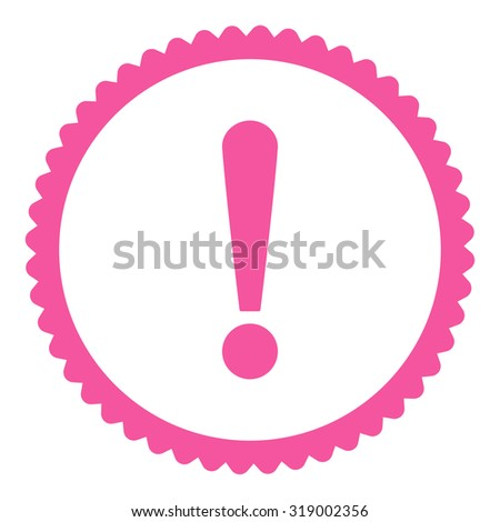 Exclamation Sign round stamp icon. This flat glyph symbol is drawn with pink color on a white background. - stock photo