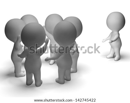 Excluded From Group 3d Character Showing Bullying - stock photo