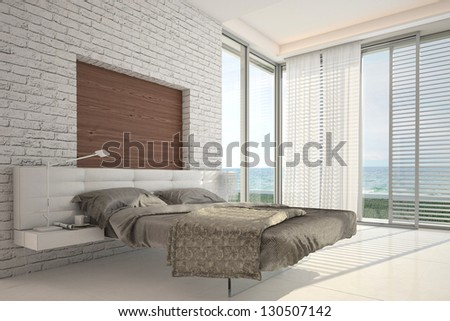 Exclusive Design Bedroom with sea view - stock photo