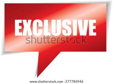 Exclusive red speech square template | business banner with symbol icon - stock photo