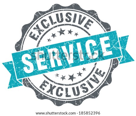 Exclusive service blue grunge retro style isolated seal - stock photo