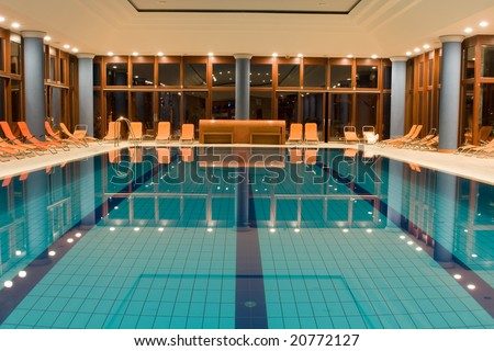 Exclusive swimming pool in a wellness hotel - stock photo