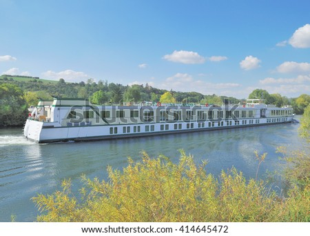 Excursion Boat on River Main in franconian Wine Region near Volkach in Bavaria,Germany - stock photo