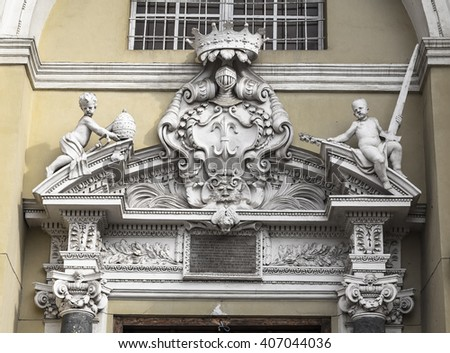 Execution the portal above the entrance to the Church of Saints Peter and Paul in Vilnius. Lithuania - stock photo