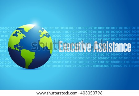 executive assistance globe background sign concept illustration design graphic - stock photo