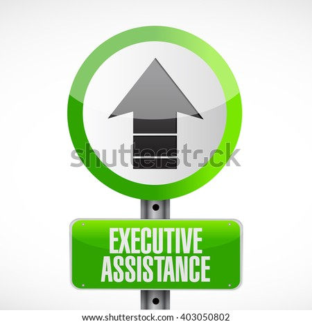executive assistance road sign concept illustration design graphic - stock photo