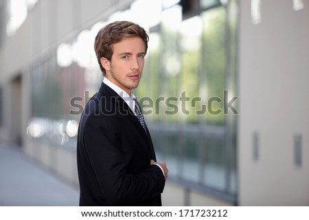 Executive before entry - stock photo