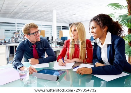 Executive business people team meeting at office teamwork young multiracial - stock photo