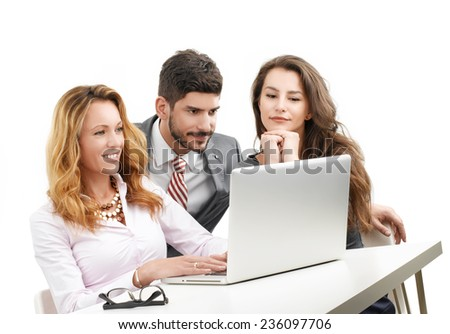 Executive business woman presenting her idea to colleagues while sitting on white background.  - stock photo