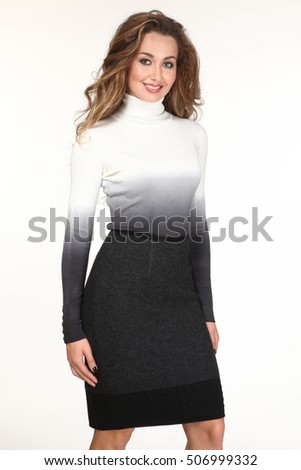 executive business woman with straight hair style in woolen sweater and skirt close up photo isolated on white