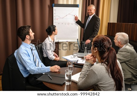 Executive businessman giving presentation on flip-chart to team formal wear - stock photo