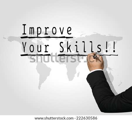 Executive Hand writing Improve your skills - stock photo