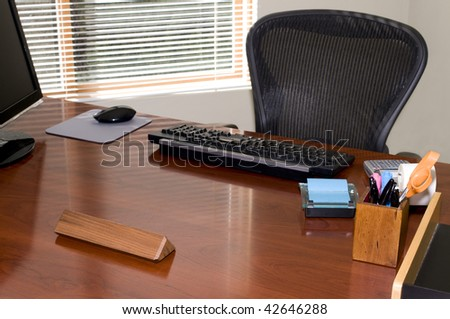 Executive Office Desk and Chair with Blank Nameplate for Your Text! - stock photo