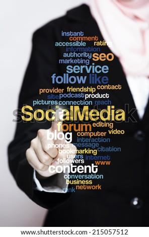 "Executive press virtual Screen-""Social Media word cloud arrangement"" - stock photo"