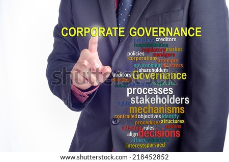 "Executive pressing the touch screen: ""CORPORATE GOVERNANCE"" word cloud arrangement"