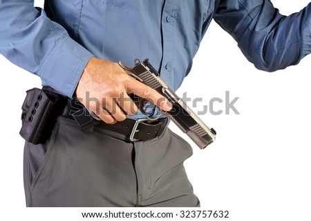 Executive Protection Man with Firearm Weapon - stock photo