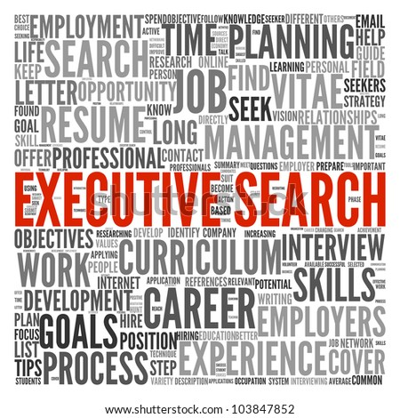 Executive search concept in word tag cloud on white background - stock photo