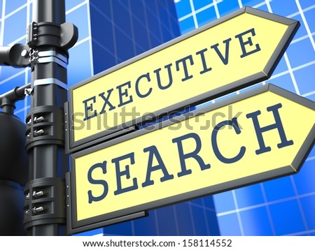 Executive Search Words on Yellow Roadsign on Blue Urban Background. Business Concept. 3D Render. - stock photo
