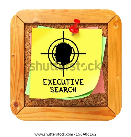 Executive Search, Yellow Sticker on Cork Bulletin or Message Board - Small Font. Business Concept. 3D Render. - stock photo