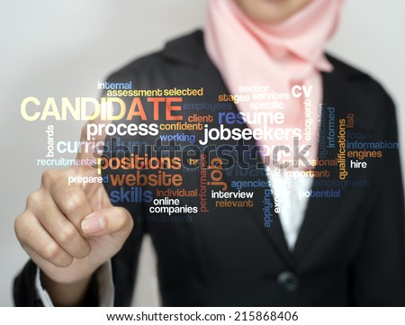 "Executive touch virtual screen ""CANDIDATE word cloud arrangement"" - stock photo"
