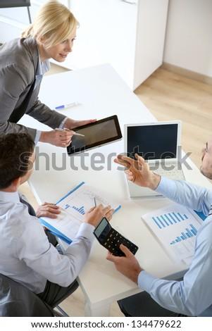 Executive woman making business presentation - stock photo