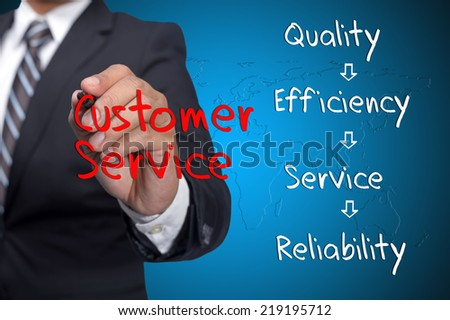 Executive write customer service related words - stock photo