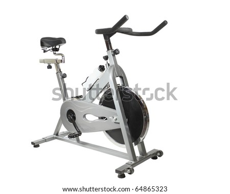 Exercise bicycle  isolated on white - stock photo