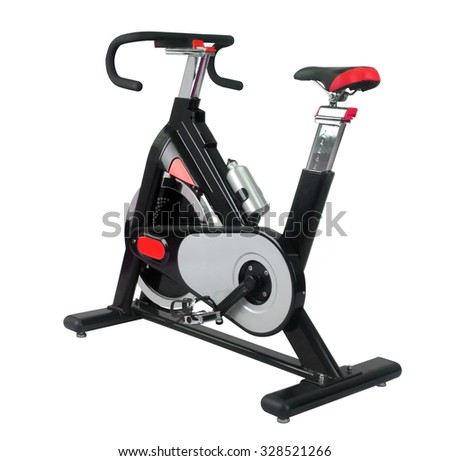 Exercise bike isolated on white - stock photo