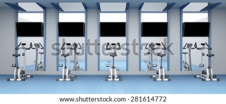 Exercise bikes in a row at fitness center - stock photo