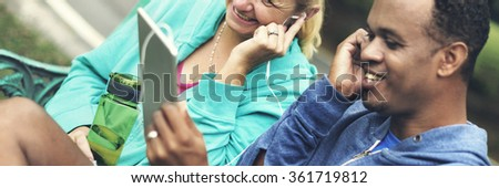 Exercise Device Digital Together Relaxation Couple Concept