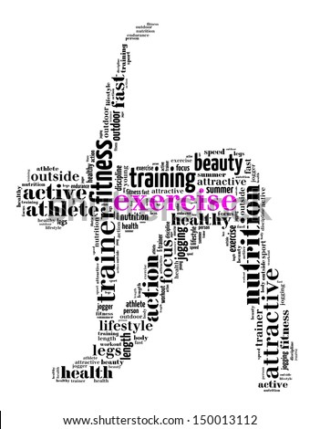 exercise info-text graphics and arrangement concept (word cloud) - stock photo