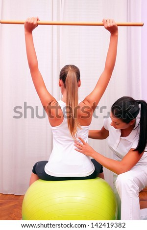 exercises control basin trunk with bobath ball fitball stabilization exercises - stock photo