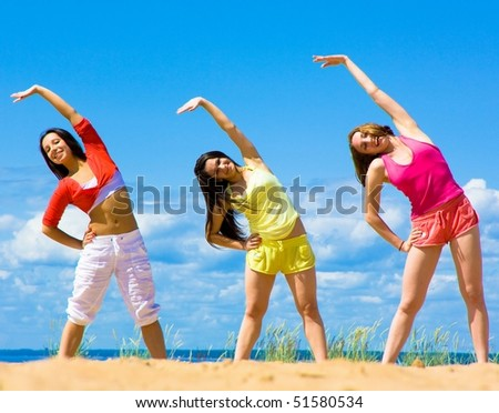 Exercising Colorful Creatures - stock photo