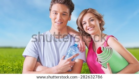 Exercising, Couple, Healthy Lifestyle. - stock photo