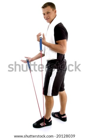 exercising man holding rope against white background - stock photo