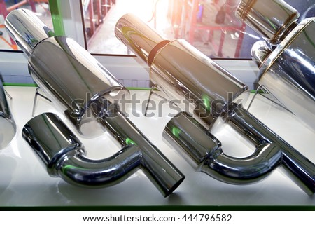 exhaust pipe for motor sports - stock photo