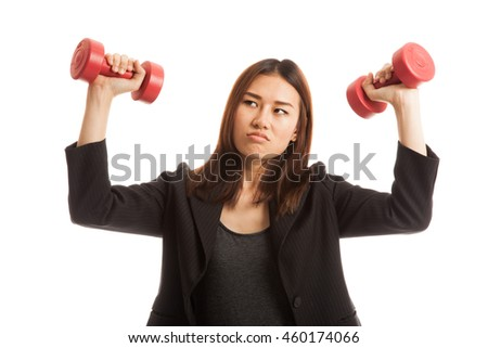 Exhausted Asian business woman with dumbbells  isolated on white background.