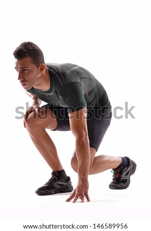 Exhausted athletic man on white background.