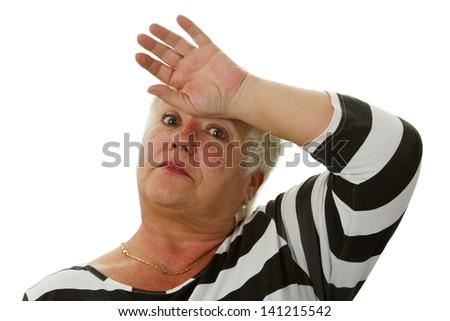 Exhausted female senior - isolated on white background - stock photo