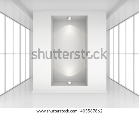 Exhibit Showcases with light sources in blank interior room large windows