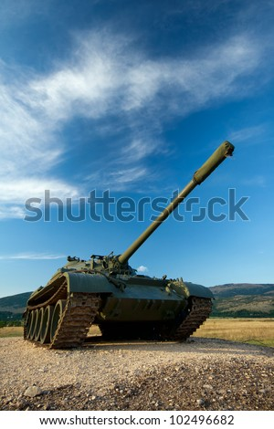exhibited a tank T-55 - stock photo