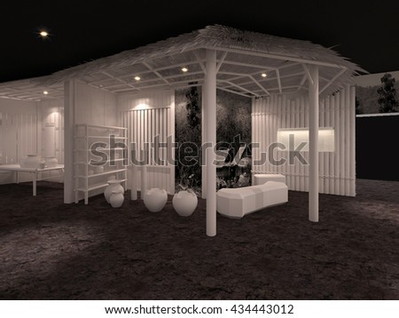 exhibition event white model bamboo 3D interior illustration
