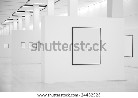 Exhibition hall with frames - stock photo
