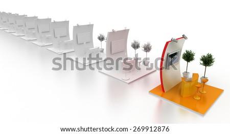 Exhibition kiosk. Copy space image, three dimensional render. Original models. - stock photo