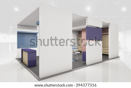 Exhibition Stand in white and blue  colors 3d rendering