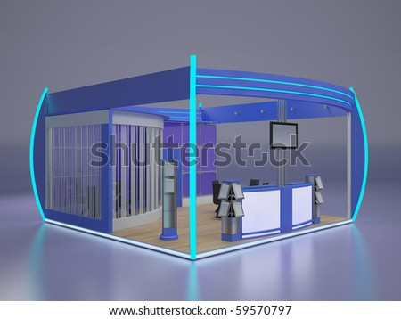 Exhibition stand.Left view. - stock photo