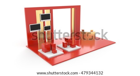 Exhibition stand on white, original 3d rendering and models