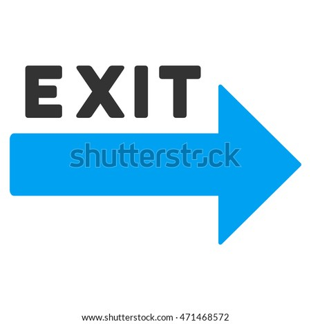 Exit Arrow icon. Glyph style is bicolor flat iconic symbol with rounded angles, blue and gray colors, white background.