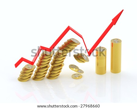 Exit from crisis. 3d graph with yen coins. 4000x3000 pixels. - stock photo